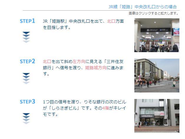 JR姫路駅からキレイモ(KIREIMO)姫路駅前店へ